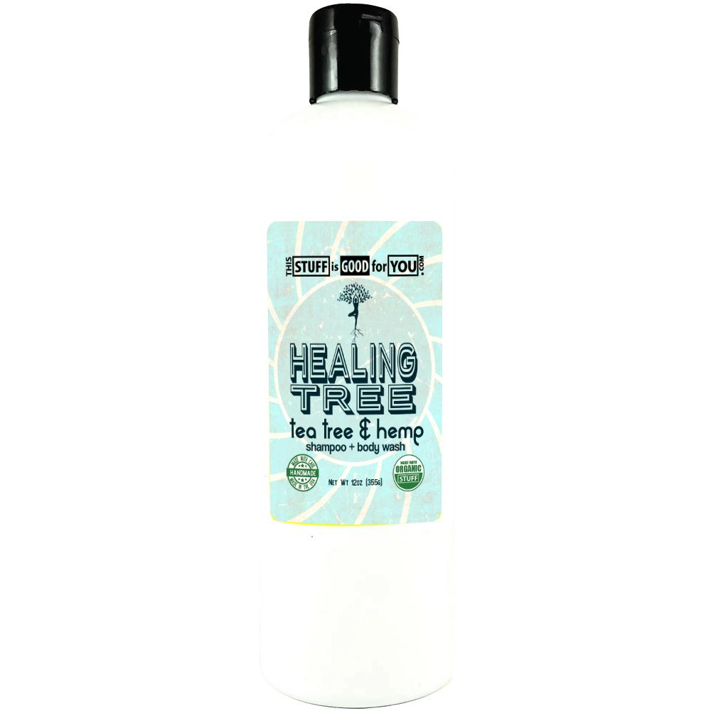 12oz Healing Tree Organic Medicated Tea Tree Hemp Shampoo Body Wash