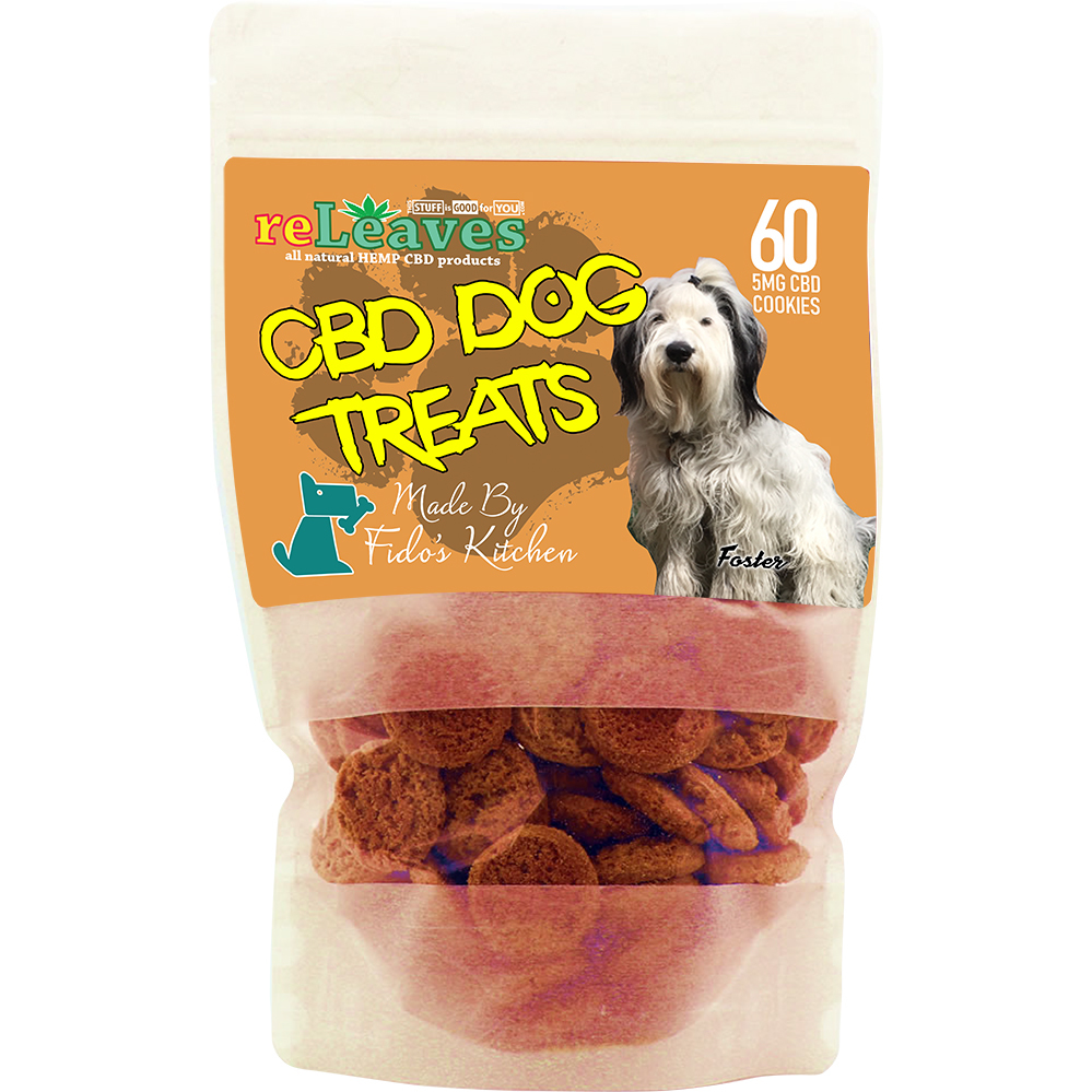 reLeaves 300mg Full-Spectrum CBD Dried Dog Treat Cookies (60x5mg)