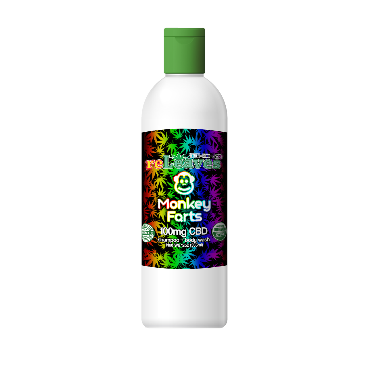12oz reLeaves 100mg CBD Monkey Farts Shampoo Body Wash