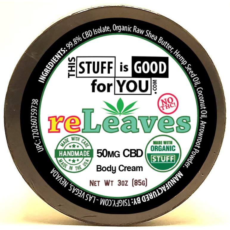 CBD Body cream 3oz reLeaves 50mg CBD Body Cream